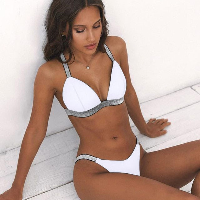 Black White High Waist Bikini