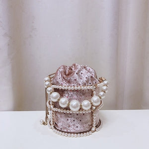 Hollow Out Pearl Bucket Evening Bag