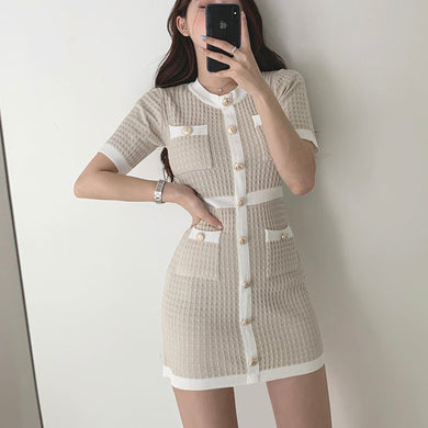 Button Knitted Bodycon Dress