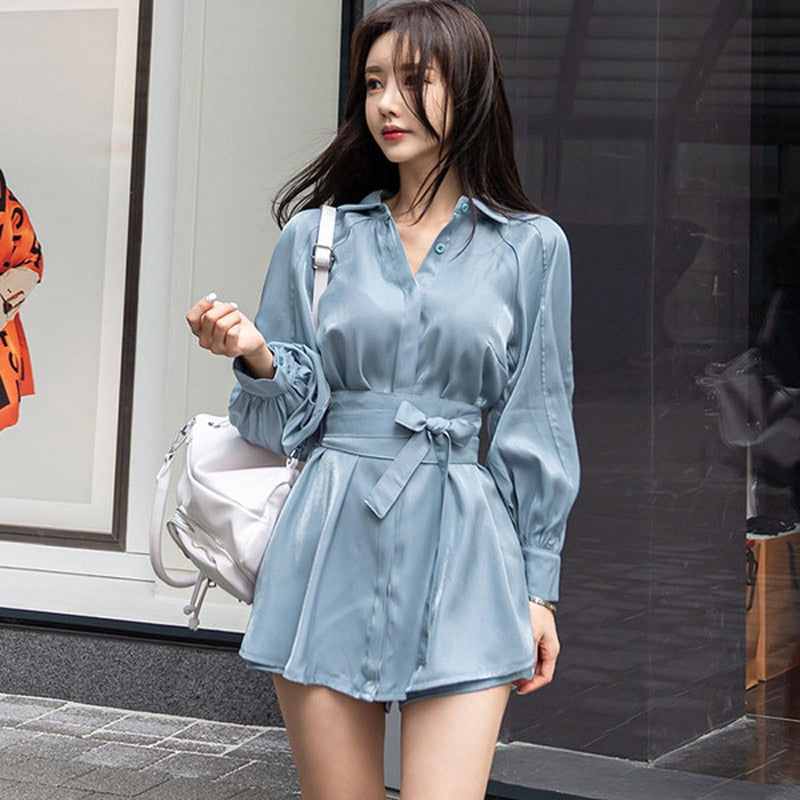Summer Women's Fashion Two-Piece Lantern Sleeves Turn-Down Collar Bow Lace-Up Long Shirt + Short Pant Two-Piece Set