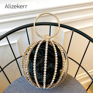 Rhinestone Spherical Cage Clutch Bag
