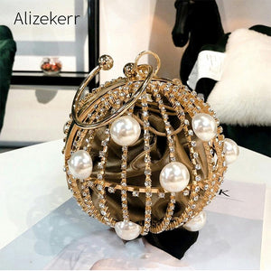 Pearl Diamond Personality Circular Clutch Bag