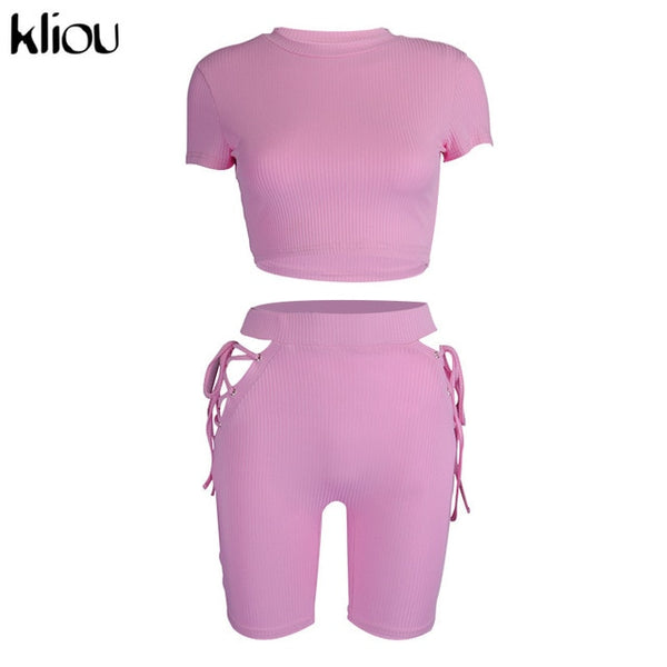 Women ribbed sporty matching set