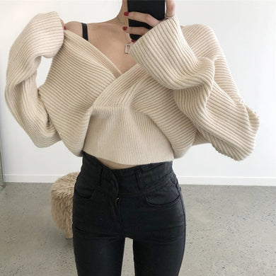 Female V Neck Crop Sweater