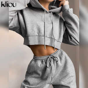 Cotton Solid Hooded Two Piece Set