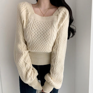 Elegant Square Collar Cashmere Sweater