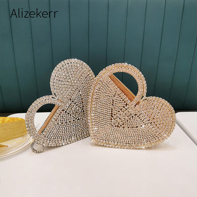 Heart Shaped Rhinestones Metal Handbag