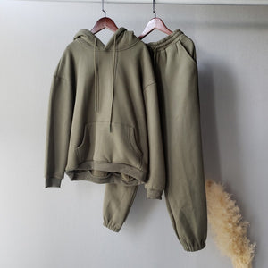 Winter Fleece Hoodies Two Piece Set