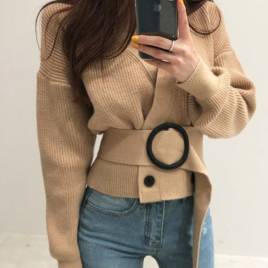Cropped Cardigan Knitted Sweater