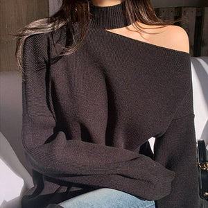 All-match Hollow Turtleneck Sweater