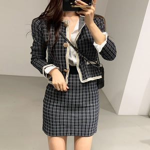 Tweed Plaid Button Two Piece Skirt Set