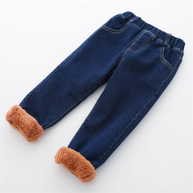 New Winter Thick Denim Pants