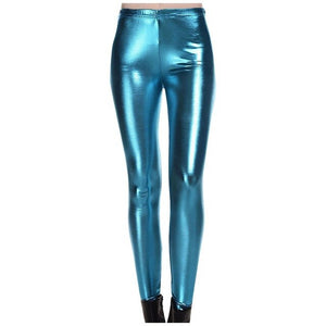 women Sexy Bright Leather Pants Nine
