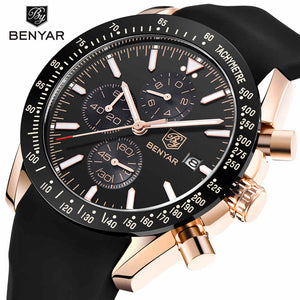 Men Sport Chronograph Silicone Strap Watches Waterproof