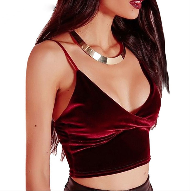 Sexy Women Velvet Crop Top