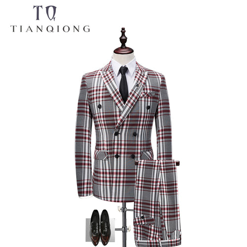 Men's Plaid Double-breasted 3 Piece Suit