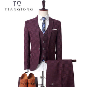 Men's Business Casual Suits Sets Three-piece