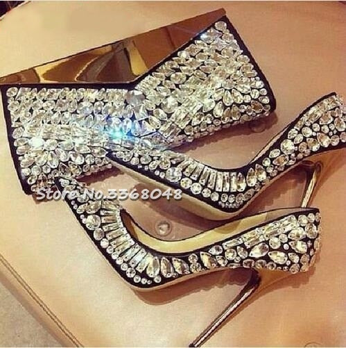 Luxury Black White Crystal Embellished Pumps Gold Stiletto Heels Jeweled Pumps Women Pointed Toe Beaded Bridal Wedding Shoes