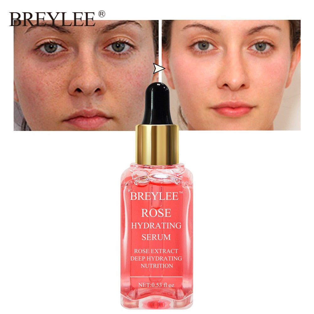 BREYLEE 100% Natural Rose Moisturizing Nourishing Serum Deep Hydrating Face Soothing Whitening Anti-aging Wrinkle Skin Care 15ML