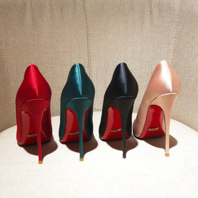 Quality Silk Satin Women Sexy Pumps  Shoes Pointed Toe Shallow High Heels
