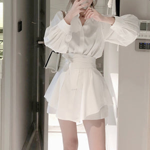 High Quality summer fashion white long shirt casual suit female Lantern sleeve + wide leg short pant two-piece suit with belt
