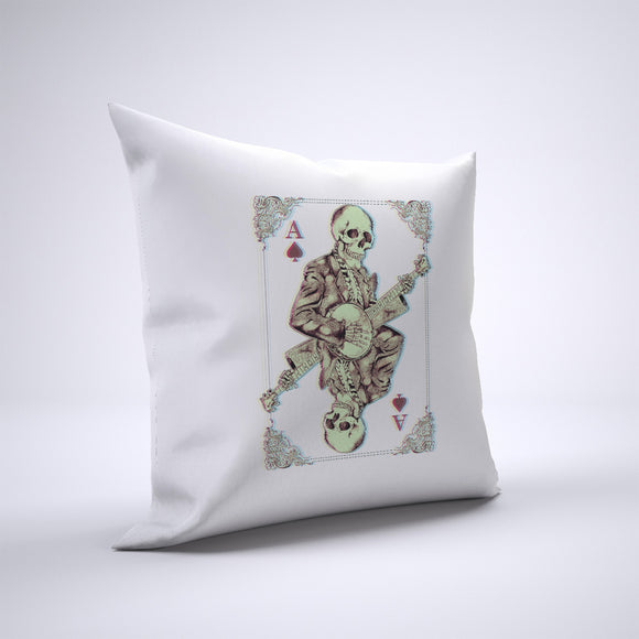 Skeleton Playing Banjo Pillow Cover Case 20in x 20in - Funny Pillows