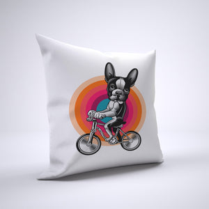 Boston Terrier Pillow Cover Case 20in x 20in - Animals On Bike Pillows