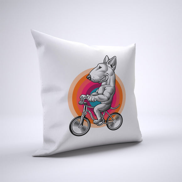 Bull Terrier Pillow Cover Case 20in x 20in - Animals On Bike Pillows