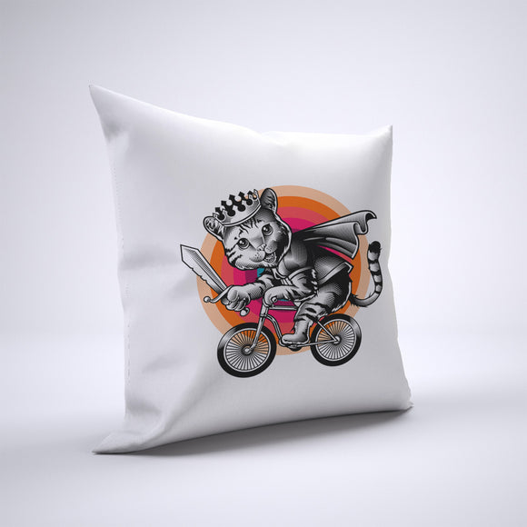 Cat Pillow Cover Case 20in x 20in - Animals On Bike Pillows