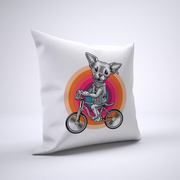 Chihuahua Pillow Cover Case 20in x 20in - Animals On Bike Pillows