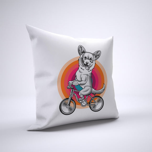 Corgi Pillow Cover Case 20in x 20in - Animals On Bike Pillows
