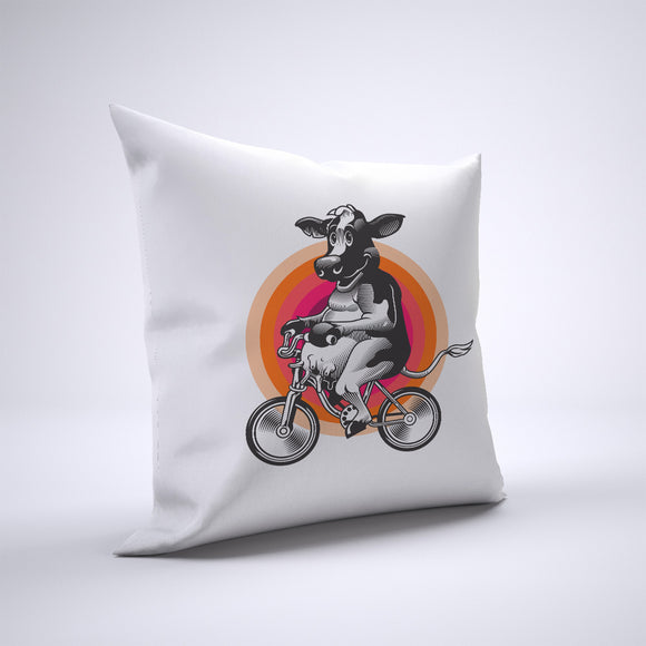 Cow Pillow Cover Case 20in x 20in - Animals On Bike Pillows