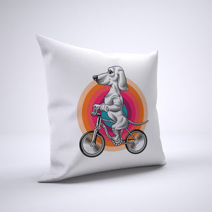 Dachshund Pillow Cover Case 20in x 20in - Animals On Bike Pillows