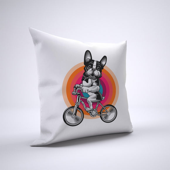 French Bulldog Pillow Cover Case 20in x 20in - Animals On Bike Pillows