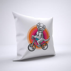 Golden Retriever Pillow Cover Case 20in x 20in - Animals On Bike Pillows