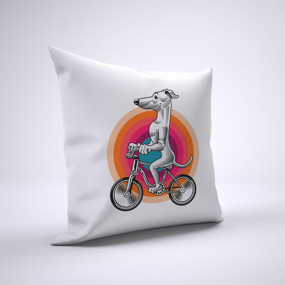 Greyhound Dog Pillow Cover Case 20in x 20in - Animals On Bike Pillows