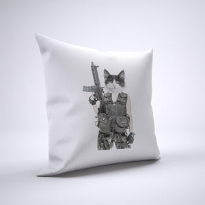 Machine Gun Cat Pillow Cover Case 20in x 20in - Funny Pillows