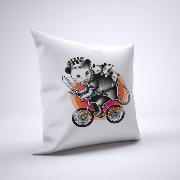 Opossum Pillow Cover Case 20in x 20in - Animals On Bike Pillows
