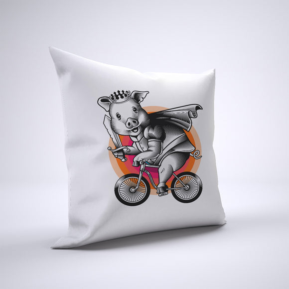 Pig Pillow Cover Case 20in x 20in - Animals On Bike Pillows