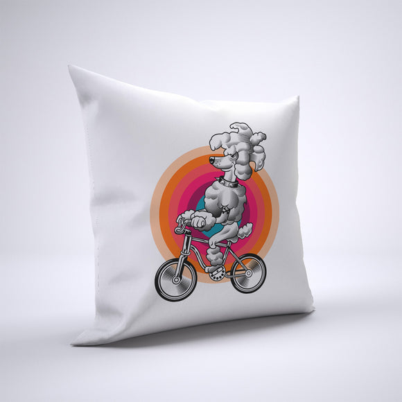 Poodle Pillow Cover Case 20in x 20in - Animals On Bike Pillows