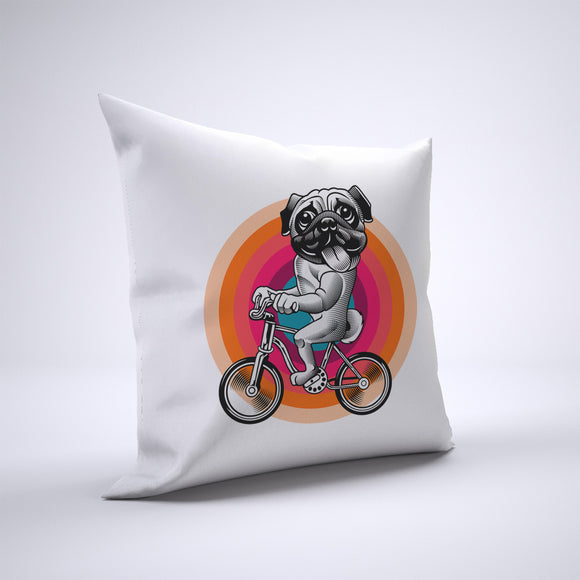 Pug Pillow Cover Case 20in x 20in - Animals On Bike Pillows