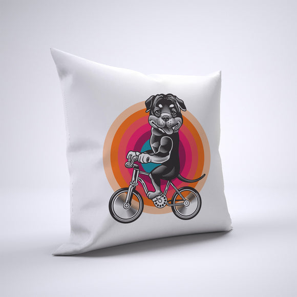 Rottweiler Pillow Cover Case 20in x 20in - Animals On Bike Pillows