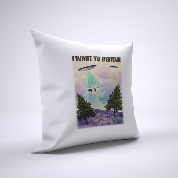 UFO I Want To Believe Pillow Cover Case 20in x 20in - Funny Pillows