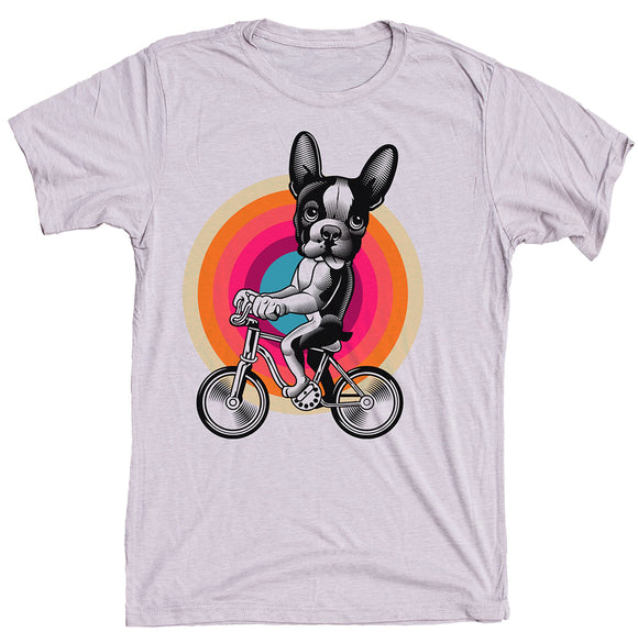 Boston Terrier On Bike Dog Shirt