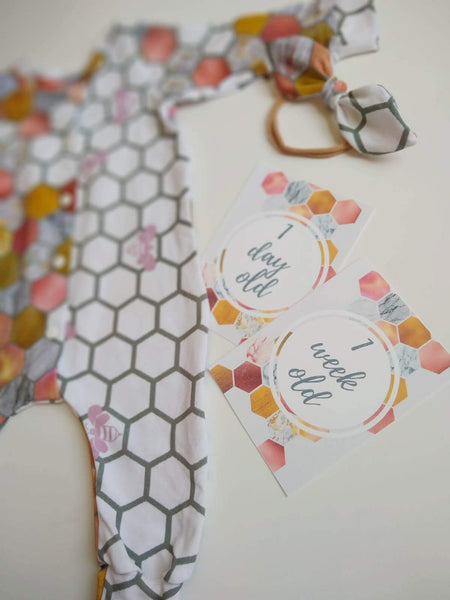 Rose & Gold Honeycomb Bees Outfit - Organic Euro Cotton