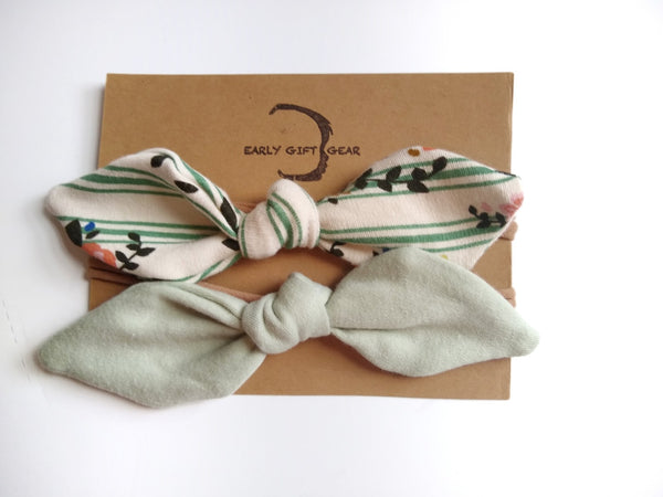 Sage Floral bow set, organic cotton
