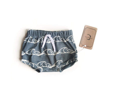 Blue waves organic cotton shorts