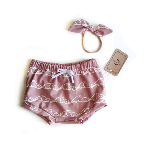Pink waves organic cotton shorts