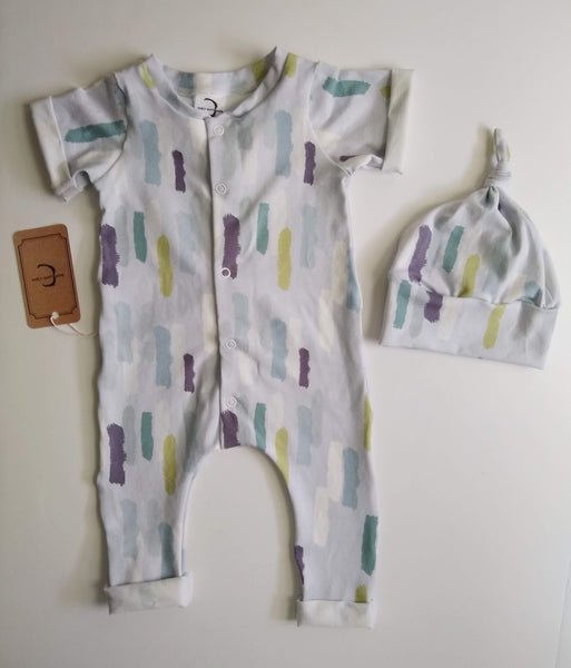 Work of art, gender neutral organic cotton outfit