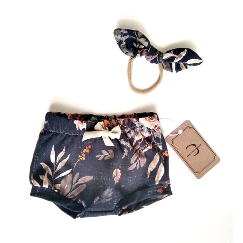 Dark floral organic cotton shorts